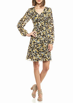 Nine West Printed Chiffon Fit and Flare Dress