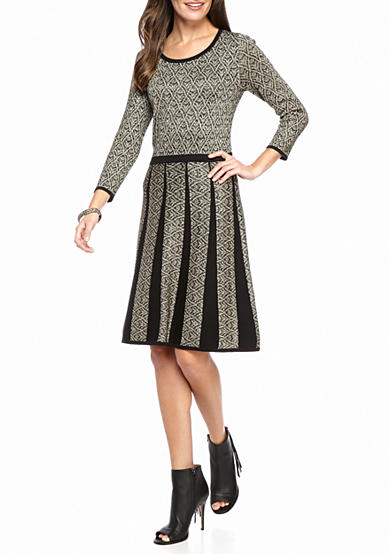 Nine West Metallic Fit and Flare Sweater Dress