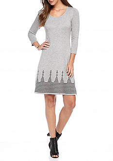 Nine West Printed Border Sweater Dress