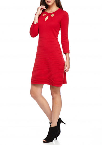 Nine West Keyhole Front Fit and Flare Sweater Dress