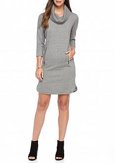 Nine West Funnel-Neck Sweater Dress