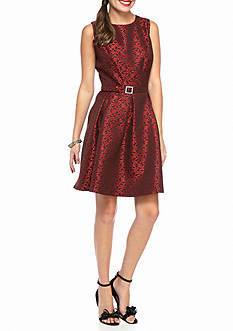 Nine West Printed Jacquard Fit and Flare Dress