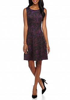Nine West Printed Scuba Fit and Flare Dress