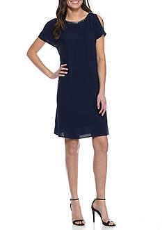 Nine West Embellished Neck Cold-Shoulder Shift Dress