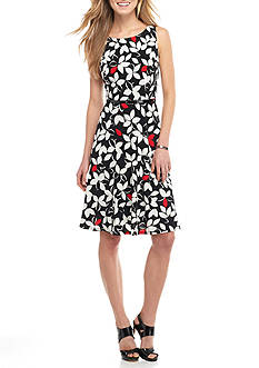 Nine West Floral Printed Belted Fit and Flare Dress