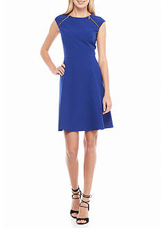 Nine West Zip Shoulder Fit and Flare Dress