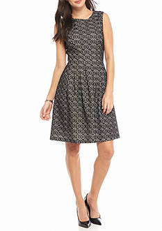 Nine West Bonded Lace Fit and Flare Dress