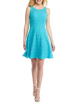 Nine West Fit and Flare Medallion Lace Dress