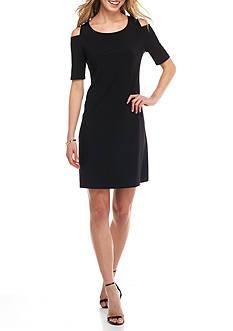 Nine West Cold-Shoulder Jersey Dress