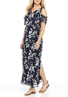 Nine West Floral Printed Cold Shoulder Maxi Dress