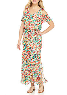 Nine West Abstract Print Cold Shoulder Maxi Dress