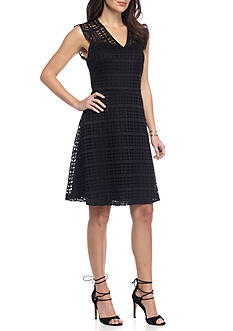 Nine West Fit and Flare Lace Dress