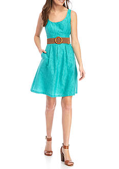 Nine West Fit and Flare Belted Dress