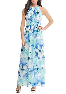 Nine West Pleated Floral Maxi Dress