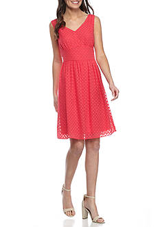 Nine West Circle Dot Fit and Flare Dress