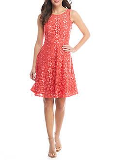 Nine West Princess Seam Lace Dress