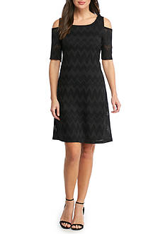 Nine West Zig Zag Cold Shoulder Dress
