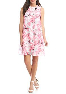 Nine West Floral Chiffon Trapeze Dress