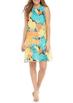 Nine West Floral Printed Trapeze Dress
