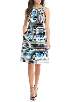 Nine West Pleated Neck Fit and Flare Dress