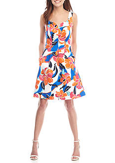 Nine West Floral Printed Sweetheart Neck Fit-and-Flare Dress