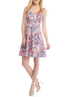 Nine West Paisley Print Sleeveless Dress