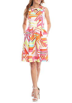Nine West Printed Fit and Flare Pleated Dress