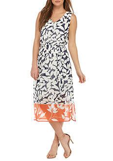 Nine West Printed Midi A-line Dress
