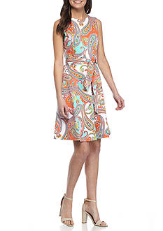 Nine West Paisley Printed Fit and Flare Dress