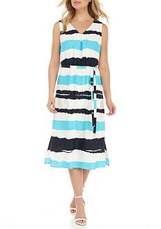 Nine West Stripe Midi A-line Dress