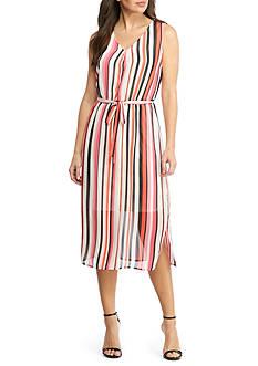 Nine West Striped Tie Waist Midi Dress