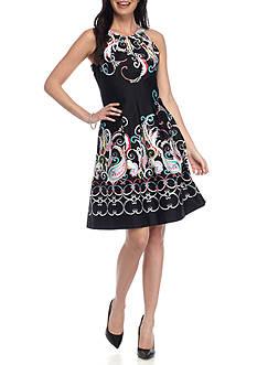 Nine West Sleeveless Paisley Printed Swing Dress