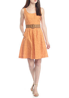 Nine West Textured Belted Fit and Flare Dress