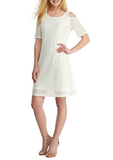 Nine West Dot Lace Street Length Dress