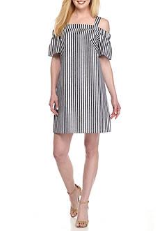 Nine West Cold Shoulder Stripe Shift Dress