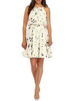Nine West Printed Blouson Halter Dress