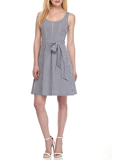 Nine West Gingham Check Fit and Flare Belted Dress