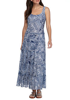 Nine West Paisley Printed Tiered Maxi Dress