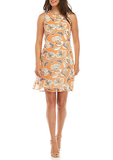 Nine West Floral Printed Trapeze Dress