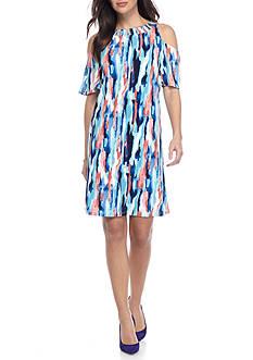 Nine West Cold Shoulder Trapeze Dress
