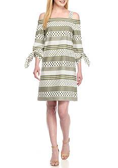 Nine West Off the Shoulder Printed Shift Dress