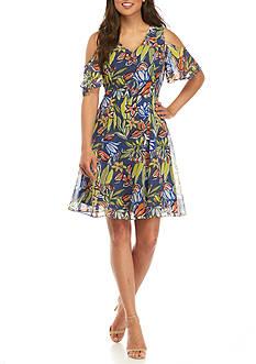 Nine West Cold Shoulder Printed Fit and Flare Dress