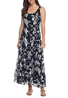 Nine West Vine Printed Tiered Maxi Dress
