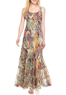 Nine West Printed Tiered Maxi Dress