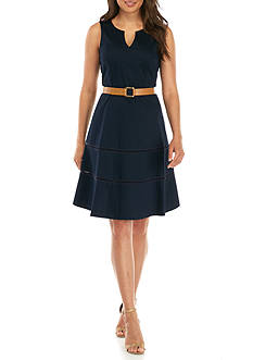 Nine West Cotton Sateen Fit and Flare Belted Dress