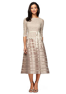 Alex Evenings Mock Two-Piece T-length A-line Dress