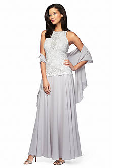 Alex Evenings Mock Two-Piece Gown with Shawl
