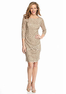 Alex Evenings Lace and Sequin Tiered Shift Dress