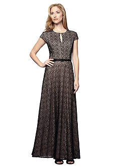 Alex Evenings A-line Belted Gown