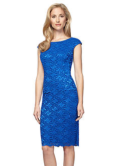 Alex Evenings Mock Two-Piece Lace Cocktail Dress with Sequin